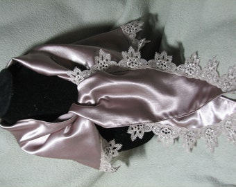 Silky Champagne Lace Trimmed Neck Scarf