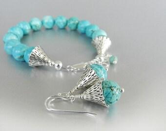 Turquoise Bracelet Earrings Jewelry Set, Turquoise Earrings and Bracelet, Silver Jewelry Set, Turquoise Jewelry Set