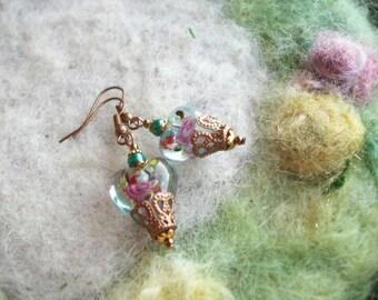 Beaded Heart Earrings, Crystal Aqua Lamp Work Beads, Romantic,Valentine,Sweetheart Earrings/Jewelry
