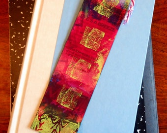 Hand Made Hand Painted Abstract Artsy Bookmark Blue Orange Green Magenta  #2