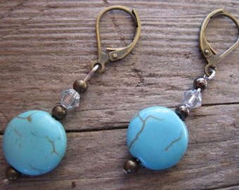 Turquoise Beaded Earrings, Turquoise Dangle Earrings