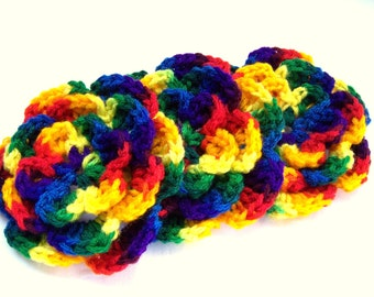 Crochet flower motif 4.5 inch  set of 3 flowers mexicana acrylic yarn