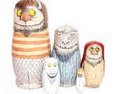 PREORDER matryoshka nesting dolls - the storybook collection - where the wild things are-inspired nesting doll set