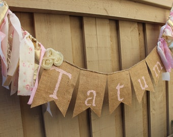 Vintage inspired shabby chic personalized banner