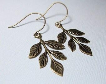 Brass Leaf Earrings Botanical Jewelry