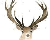 Reindeer Print, deer art, reindeer art print ,Christmas art, Reindeer watercolor painting, deer nursery decor, stag portrait, woodland art