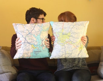 Personalised map printed cushion cover - any locations - Perfect for newly weds - second wedding anniversary present - housewarming