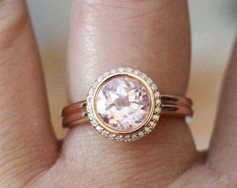Kunzite 14K Rose Gold Ring, Kunzite And Diamond Ring, Engagement Ring, Gemstone Ring, Stacking Ring, Anniversary Ring - Made To Order
