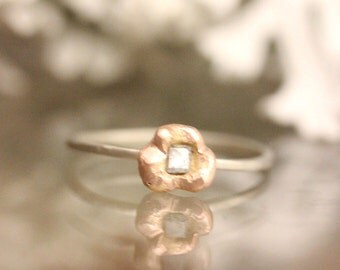 Gray Diamond In 14K Rose Gold & White Gold RIng, Nugget Ring, Stacking Ring, Eco Friendly, Engagement Ring (E) - Ship in the next 9 days
