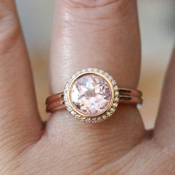 1a383bb33d7f9 Sapphire Birthstone: Kunzite 14K Rose Gold Ring, Kunzite And Diamond ...