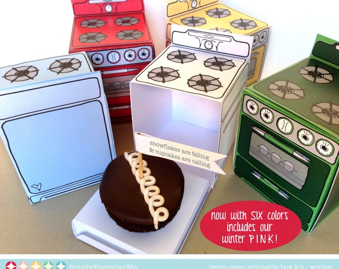 Christmas Bun In The Oven Box -Cupcake Box, baking party, Cookie Exchange, 6 favor boxes-Instant Download DIY. Printable PDF Kit