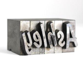ASHLEY - 48pt Vintage Metal Letterpress