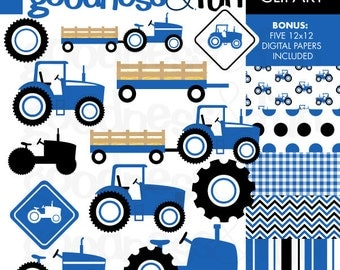 Buy 2, Get 1 FREE - Blue Tractor Clipart - Digital Tractor Clipart - Instant Download