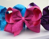 "Set of 3 -- Extra Large Jumbo Glitter Sparkle Hair Bows - 2.25"" Grosgrain Glitter Ribbon - available in Gold Silver Black White Red & more"