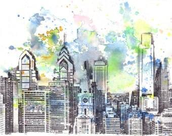 Philadelphia Skyline Art Print From Original Watercolor Painting 13 x 19 in Philadephia Art Poster Print