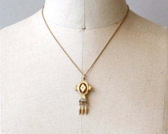 Victorian gold filled pin pendant necklace / antique 1900s etched gold fringe tiny brooch necklace