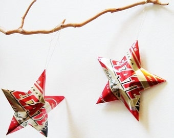 Tecate or Tecate Light Beer Stars Gift Toppers Ornaments Aluminum Can Upcycled