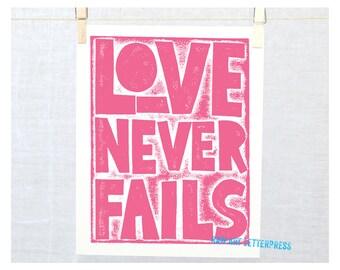 Corinthians Love Never Fails - Wall Art, Christian Art, Christian inspirational Sign, Modern Nursery Art, Scripture, Wedding, Engagement