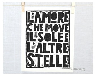 Love that moves the Sun and Other Stars - L' Amore Quote, Dante Wall Art, Valentine