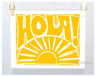HOLA! Wall Art, Welcome Sign, Spanish, Kitchen Art, Typographic Print, Sunshine