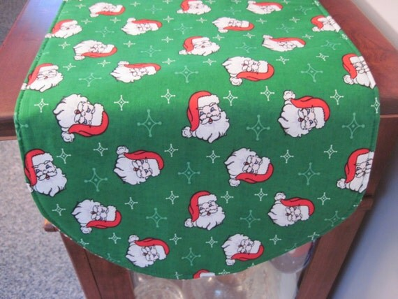 jolly santa christmas table runner 36 inch reversible and. Black Bedroom Furniture Sets. Home Design Ideas