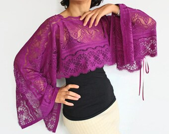 Top Lace Tunic Shrug Poncho Capelet in Eggplant Purple Lightweight Lace Tunic