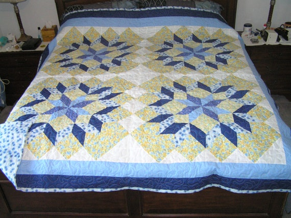 King Queen Four Star Blue And Light Yellow Quilt
