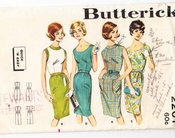 Vintage 1963 Butterick 2207 Sewing Pattern Misses' Wiggle Dress Size 12 Bust 32