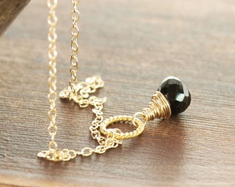 Black Onyx 14k Gold Fill Pendant Necklace, Black and Gold Gemstone Necklace, Art Deco Style Jewelry