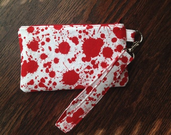 Blood Spatter Wristlet with lining and strap