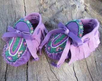 Baby Moccasins By Desi, Beaded, Soft Purple Leather, 3-6 months, Shoes, Girl,  Booties, Heirloom, Easter Dress shoes, Boho, Hippie, Pink