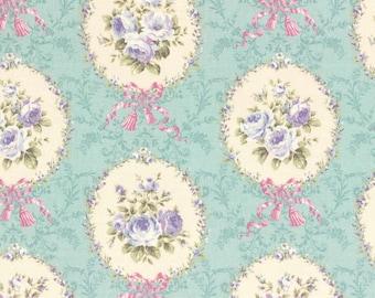 Rococo Sweet 2014 Rose Cameos  on aqua blue Cotton Fabric Lecien 30154-70