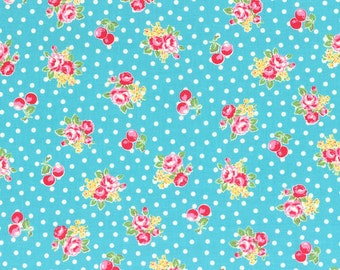 Flower Sugar Fall 2014 Small Roses  Cherry Dots Cotton Fabric  by Lecien 31028-70 Blue