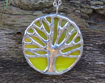 Yellow & silver stained glass, toomer's oak, tree of life pendant