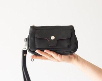 Wristlet wallet black leather,womens phone wallet,phone case,zipper wallet,clutch wallet,phone case - Thalia Wallet