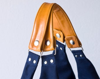 Leather handles and zipper pulls for Kallia bags