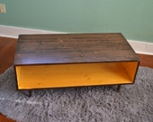 Coffee Table-Handmade Mid Century Modern Mustard Yellow and Chocolate Brown (or custom color) Coffee Table Furniture