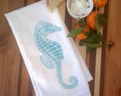 2 Sea Horse Flour Sack Dish Towels custom designed-Aqua