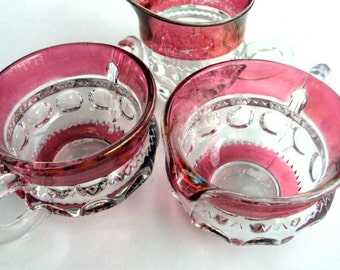 Vintage Kings Crown Sugar and Creamer,Indiana Glass,Tiffin Glass,Cranberry Glass,Holiday,Collector, Dining Table, 3 Pieces, Estate, 1950