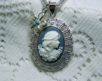 Young Girl Cameo - Garden - Lady - Flowers - Silver Filigree Necklace - white gold chain - blue and white cameo
