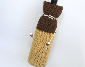 Wine Cozy Gift Bag Champagne Sweater Housewarming Present Brown Bark Hot Mustard Hand Crocheted Fiber Gift Bag