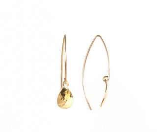 Comet Earrings - textured brass teardrop - as seen at Macy's