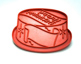 Vintage cookie cutter Happy Birthday cake 1970's red Tupperware