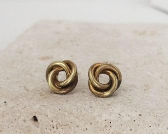 Vintage | Deadstock | Tiny Studs | Brass Knot Earrings | E110017