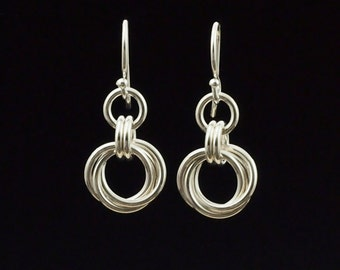 Sterling Silver Small Linked Loops Chainmaille Earrings - Kit or Ready Made