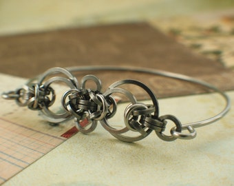 Stainless Steel Staggered Byzantine Bangle - Kit or Ready Made