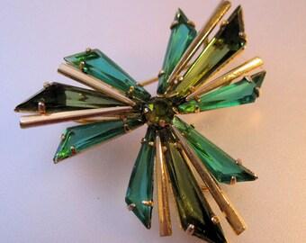 Austrian Two Tone Green Crystal Brooch 1950s Vintage Jewelry Jewellery