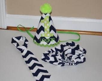 navy baby boys first birthday outfit, boys 1st birthday outfit,  cake smash set, navy blue, lime green, 1st birthday hat, boys diaper cover