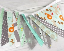 Banner Fabric Bunting, Fabric Flags, Woodland Nursery Decor, Photography Prop - Woodland Animals, Mint Green, Gray, Foxes, Deer, Grey