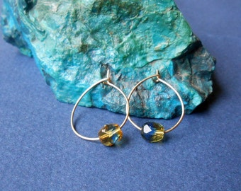Organic small hoops in gold filled and czech glass
